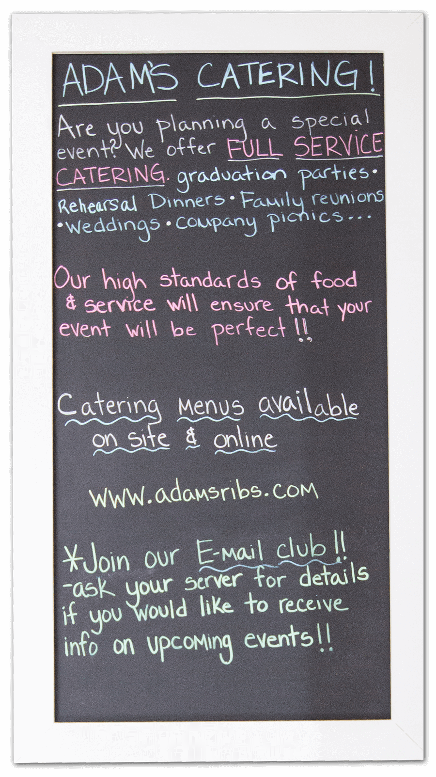Adams Severna Park Catering Board